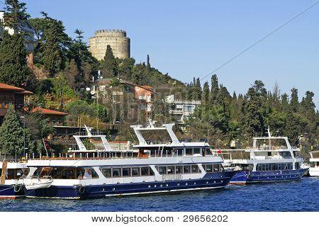 Two Pleasure Boats Near Rumeli Fortress, Istanbul, Turkey