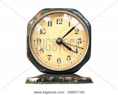 Ancient Rusty Clock Vintage Retro Object Isolated