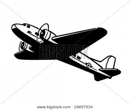 Airplane Taking Flight - Retro Clipart Illustration