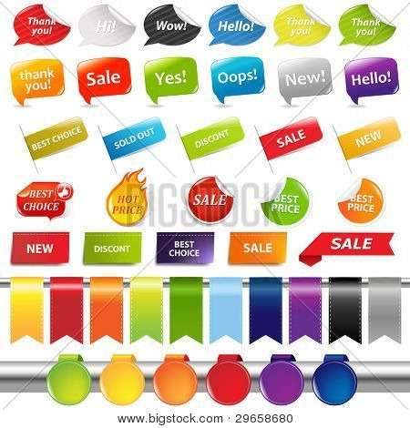 Set Of Colorful Sale Stickers And Labels, Isolated On White Background, Vector Illustration