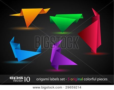 Origami triangle style speech Banner . All shadows are transparent, ready to copy and paste on every surface.