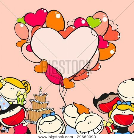 Birthday frame with kids and balloons (raster version)