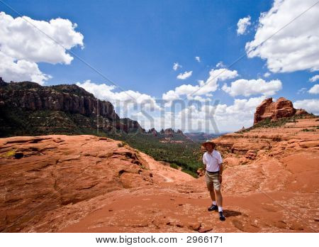 Single Hiker Facing Camera In Sedona