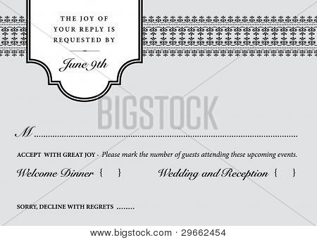 Vector Wedding Reply Card Template. Easy to edit.
