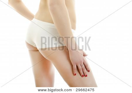 Beautiful Female Body Back Ass. Isolated On White Background.