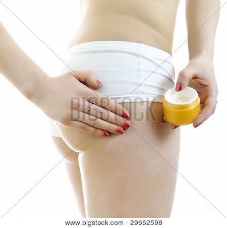 Woman With Body Cream. Isolated On White Background