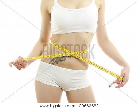 Woman Measuring Her Waist. Isolated On White Background