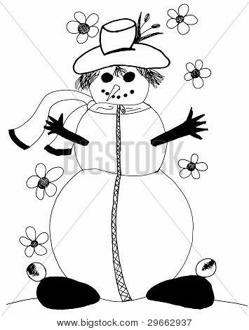 Hand Drawn Snowman