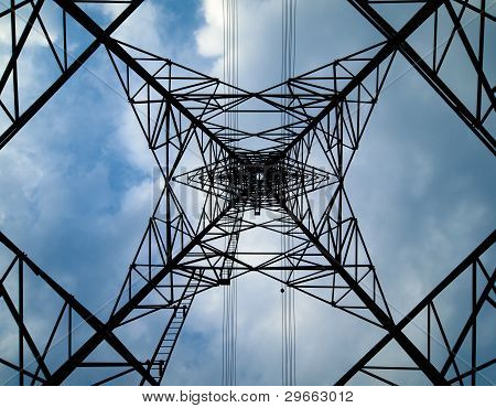 Silhouette Under Of High Voltage Tower