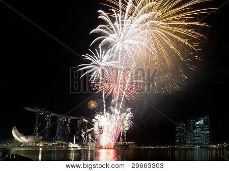 Fireworks Display Along Singapore Esplanade