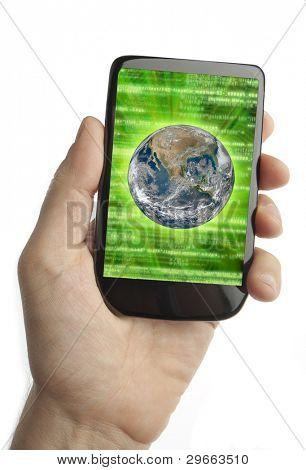 Teléfono celular con código binario y tierra en la pantalla (diseño original)
