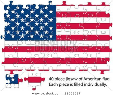 The USA flag incorporated into a 40 piece jigsaw pattern. Each piece can be moved around or deleted for effects.