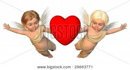 Winged Cherubs with Red Heart