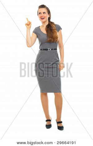 Full Length Portrait Of Business Woman Got Idea