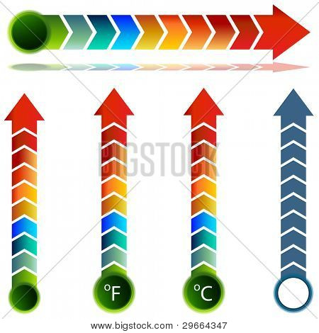 An image of a thermometer temperature arrow set.