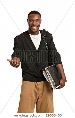 Happy Casual Dressed Young African American College Student Isolated on White Background