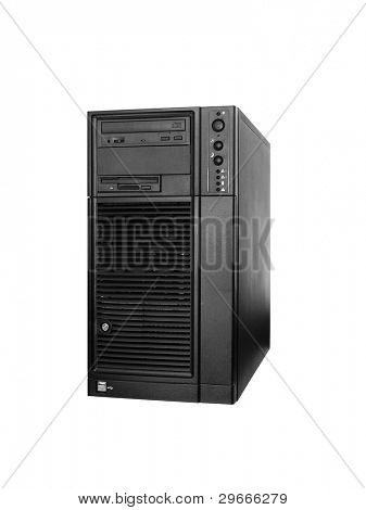 Server computer tower in black color isolated on white background.