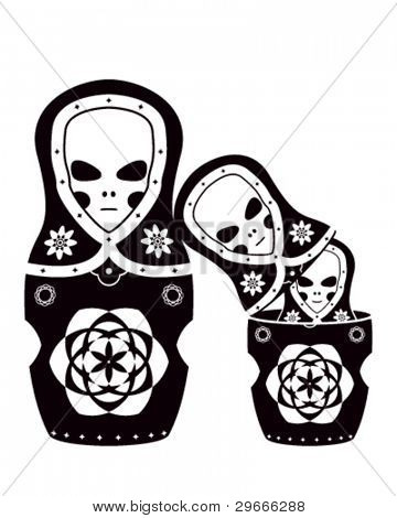 Vector art of the russian dolls. Three aliens as matryoshka.