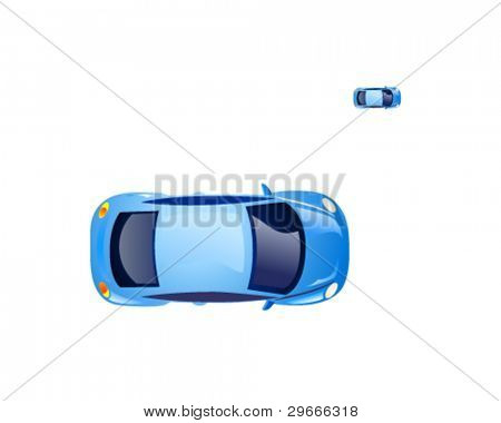 Top view on the blue retro beetle car. Vector icon.