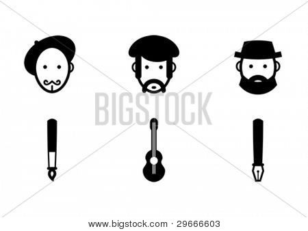 Vector set of creative professions: painter, musician and writer.