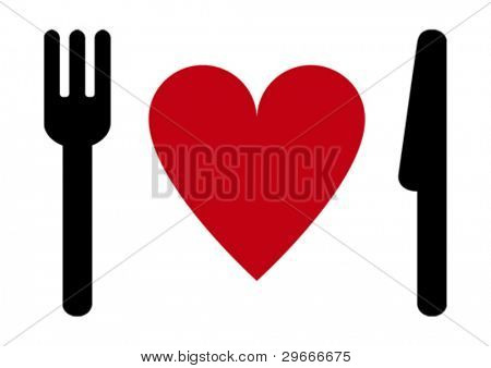 Fork, heart, knife.