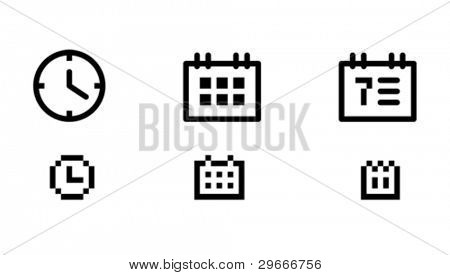 Time and date icons. Icons are aligned to pixel grid. This means that the images are prepared for use in small-sizes. Perfectly for the Web.