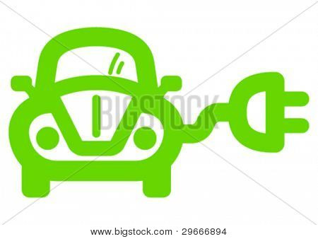 Green ecological electric car sign.