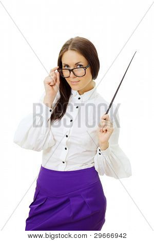 Beautiful woman in white blouse and violet skirt wearing glasses standing and holding pointer.