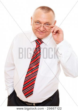 Smiling senior businessman wearing white shirt and tie in glasses over isolated background. Mask included
