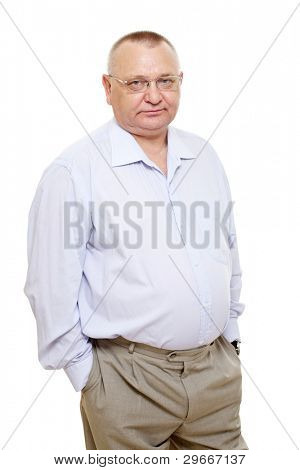 Thoughtful senior business wearing blue shirt and glasses standing over isolated background. Mask included