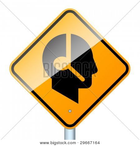 Profile with handsfree. High-detailed vector sign isolated on white background