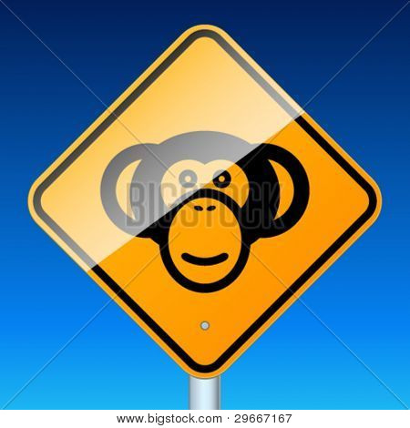 Monkey road sign. High-detailed vector sign