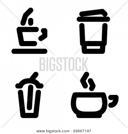 Coffee cup vector icons set