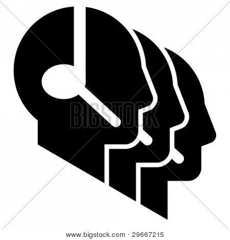 Icono del call center. Perfil de tres cabeza siluetas con auriculares