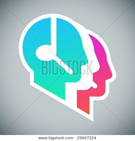 Call center coloured sign: three head profile silhouettes with headsets on grey background
