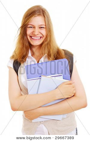 Beautiful laughing teenager with bag in white chemise and beige waistcoat holding folders and books isolated on white background. Mask included