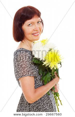 Happy middle aged brunet woman standing and holding flowers isolated on white background. Mask included