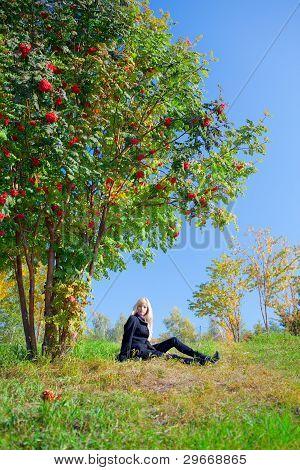 Woman Under Mountain Ash Tree