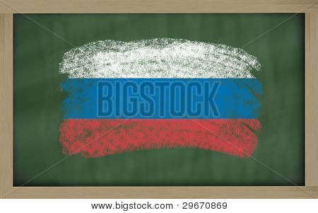 National Flag Of Russia On Blackboard Painted With Chalk