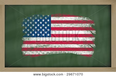 National Flag Of America On Blackboard Painted With Chalk