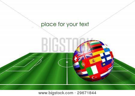 Bola de bandeiras de países europeus no campo de futebol sobre branco