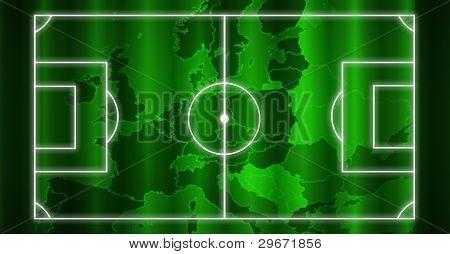 Europa mapa verde de fundo das linhas de campo de futebol com branco