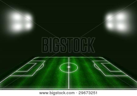 Futebol de campo com linhas brancas e verde grama