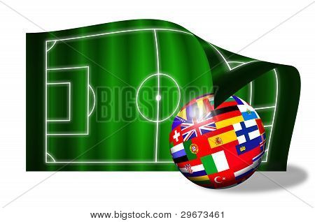 European Flags Ball On Soccer Field Over White