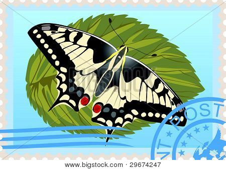 Postage stamp with a butterfly