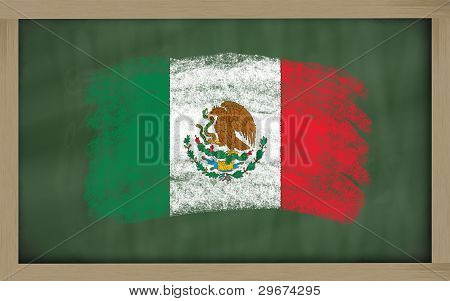National Flag Of Mexico On Blackboard Painted With Chalk