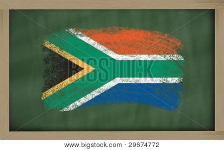 National Flag Of South Africa On Blackboard Painted With Chalk