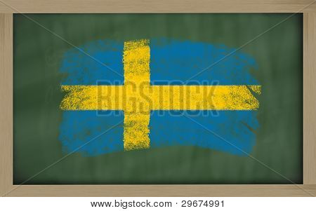 National Flag Of Sweden On Blackboard Painted With Chalk