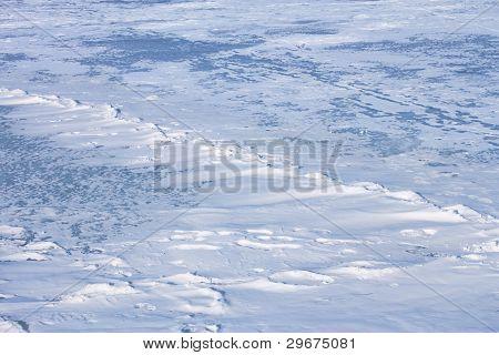 Snow Hummocks On The Ice