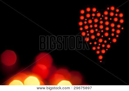Beautiful bokeh valentine heart background